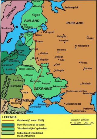 Na de Vrede van Brest-Litovsk (1918) verschenen de eerste contouren van Polen, Estland, Letland en Oekraïne (terug) op de kaart. - wiki