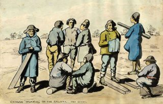 Spotprent: Chinese 'Working' on the Railway - Near Kemmel (cc - UVicLibraries)