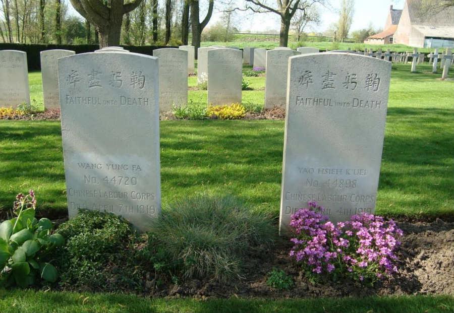 Het graf van Wang Yung Fa op Lijssenthoek Military Cemetery - Foto Edwin Ruis