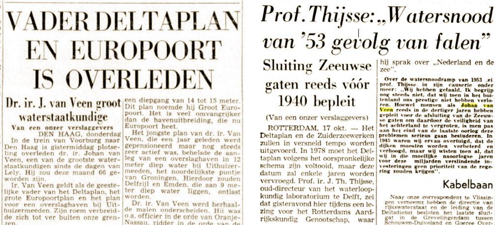De Telegraaf, 10 dec. 1959 (l) De Tijd, 17 okt. 1961 (r)
