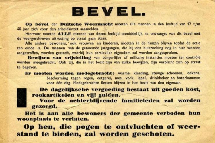 Oproep voor de Arbeitseinsatz (Publiek Domein - Duitse Weermacht)