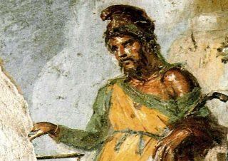 Priapus (Priapos), muurschildering in Pompeï (Publiek Domein - wiki)
