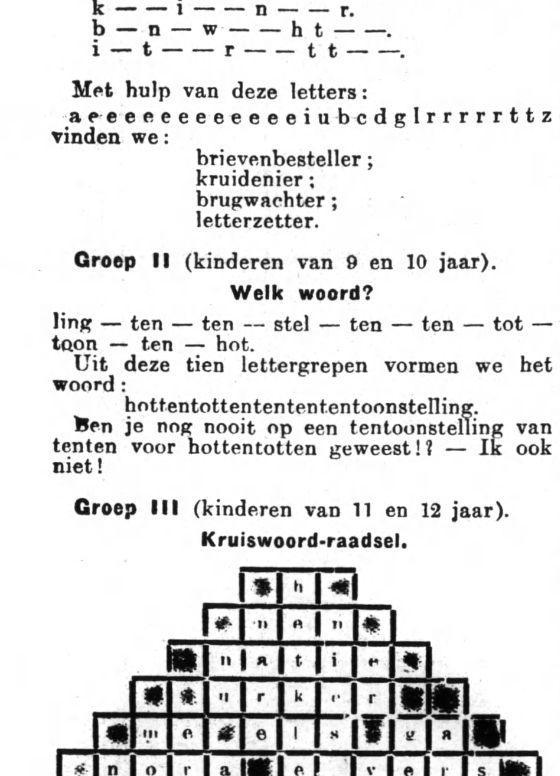 Hottentottententententoonstelling op de puzzelpagina van dagblad Het Volk, 29 juni 1929 (Delpher)