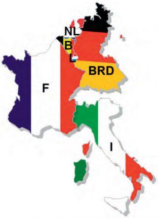 De Europese Gemeenschap van Kolen en Staal, bestaande uit België, Bondsrepubliek Duitsland, Frankrijk, Italië, Luxemburg en Nederland.