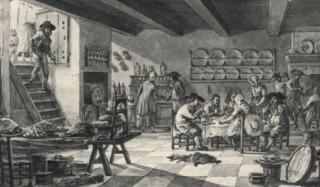 Drukte in een herberg, anno 1799. Onderdeel van een serie prenten van Dirk Langendijk over de Vijf Zintuigen.
