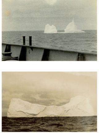 Hoe meer de Willem Barendsz richting het zuiden koerst, des te groter wordt het pakijs dat om het schip heen drijft.