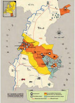 Kaart met daarop aangegeven de locaties voor kolenwinning. De concessiegebieden voor de particuliere mijnen zijn lichtblauw. Die voor de Staatsmijnen zijn oranje. Ze worden omgeven door gele gebieden die voor de Staatsmijnen gereserveerd zijn. Bij de aan de Staatsmijnen toegewezen ontginningsgebieden hoorden behalve de Zuid-Limburgse concessie ook die van de toekomstige Staatsmijn Beatrix. Andere Peelmijnen ontbreken nog.