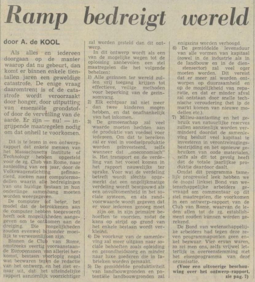 Ramp bedreigt wereld - NRC Handelsblad, 31 augustus 1971 (Delpher)