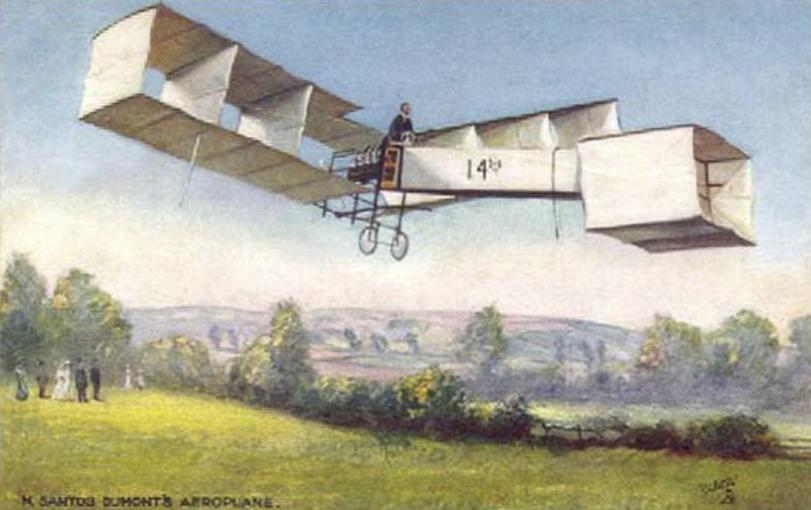 Ansichtkaart met een afbeelding van Alberto Santos-Dumont in een van zijn machines (Publiek Domein - wiki)