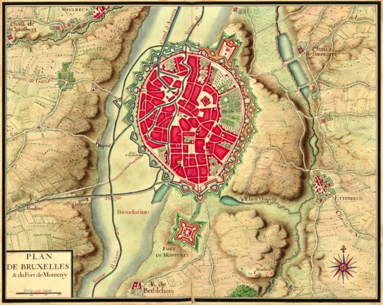 Brussel omstreeks 1700 met het fort van Monterey in het midden onderaan (Publiek Domein - wiki)