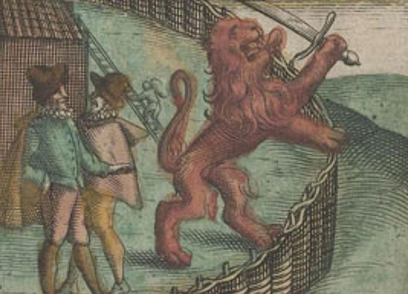 Detail van de boekcover - Afbeelding uit het pamflet 'Aerdt ende eygenschappen van Seignor van Spangien'
