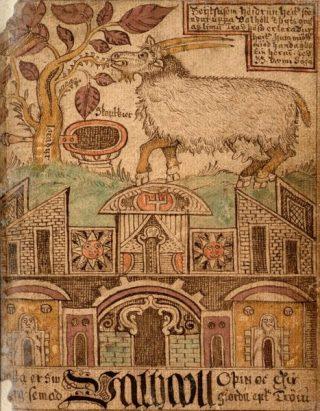 Heiðrun, magische geit in de Noordse mythologie (Publiek Domein - wiki)