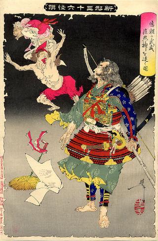 Minamoto Tametomo jaagt demonen weg - Afbeelding van Yoshitoshi, 1890 (Publiek Domein - wiki)