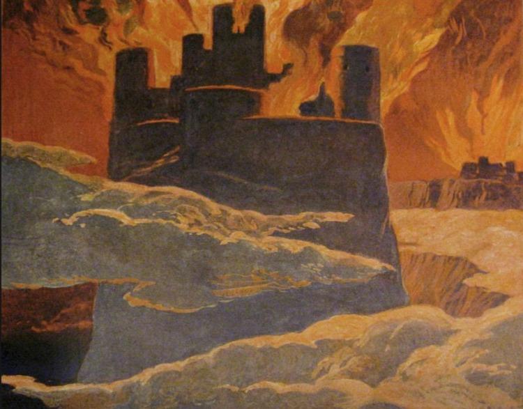 Ragnarok, Asgard staat in brand - Emil Doepler, ca. 1905 (Publiek Domein - wiki)