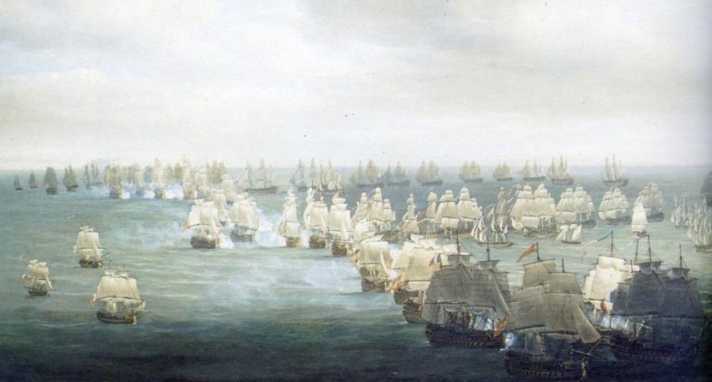 Zeeslag bij Trafalgar om één uur 's middags door Nicolas Pocock (Publiek Domein - wiki)