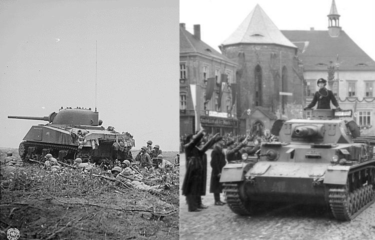 M4 Sherman-tank (l) en de Panzerkampfwagen IV (Publiek Domein & cc - Bundesarchiv)
