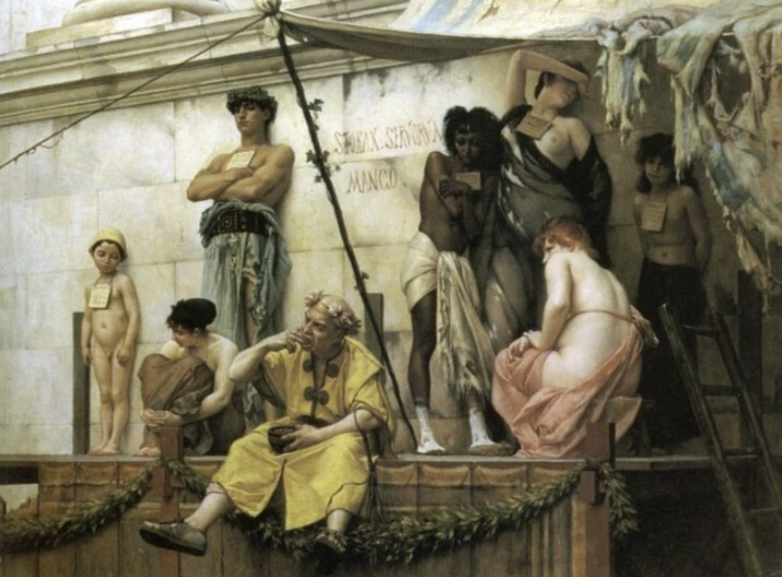 Negentiende-eeuws idee van een Romeinse slavenmarkt. (Pibliek Domein - Gustave Boulanger - wiki)
