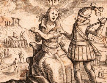 Spanjaard bedreigt de Nederlandse maagd in de Tachtigjarige Oorlog, prent uit Johannes Gysius: Oorspronck ende voortgang der Neder-landtscher beroerten ende ellendicheden, 1616 (Publiek Domein - Bibliotheek van het Vredespaleis - wiki)