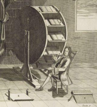 Afbeelding van een boekenmolen in een boek uit 1719 (Publiek Domein - wiki)