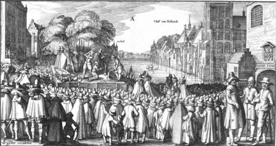 De executie van Johan van Oldenbarnevelt hing als een Zwaard van Damocles boven het hoofd van de Statenleden die zonder aanklacht op Slot Loevestein werden opgesloten.