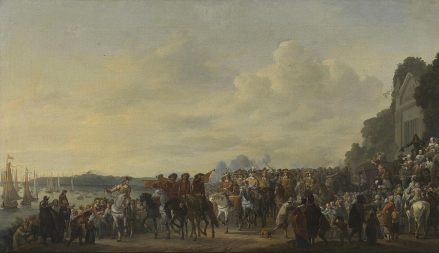 Op dit schilderij van Johannes Lingelbach, van oprukkende prinselijke troepen aan de Amstel, wordt  vermoedelijk de mislukte aalslag op Amsterdam uitgebeeld. (Publiek Domein - wiki)
