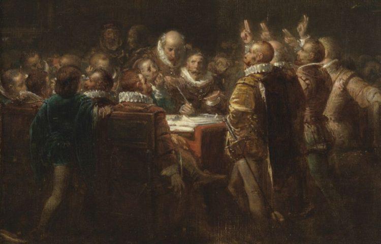 Ondertekening van het Plakkaat van Verlatinge, schilderij van Johannes Hinderikus Egenberger (Publiek Domein - wiki)