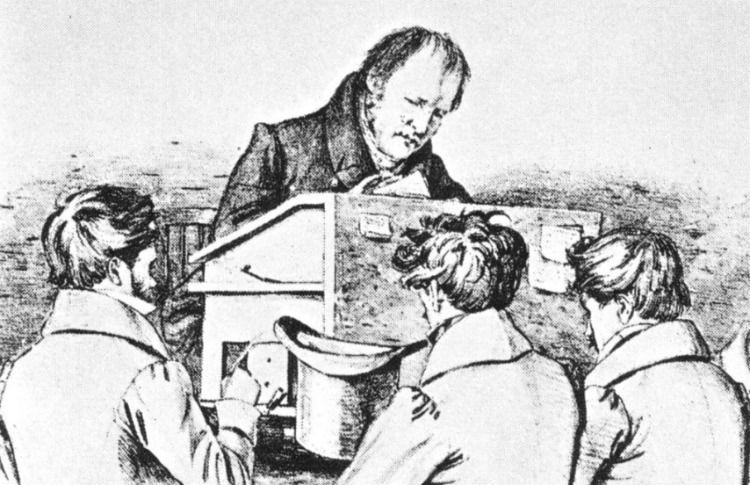 Hegel met zijn studenten in Berlijn, schets van Franz Kugler (Publiek Domein - wiki)