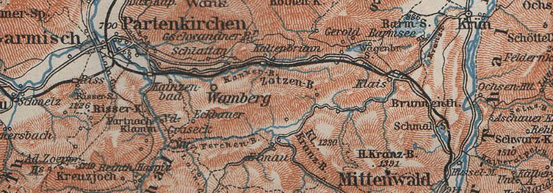 Omgeving van Garmisch-Partenkirchen (kaart van voor 1935)