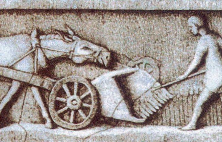 Beeld uit de Romeinse tijd - Een boer haalt de oogst binnen (Publiek Domein - wiki)