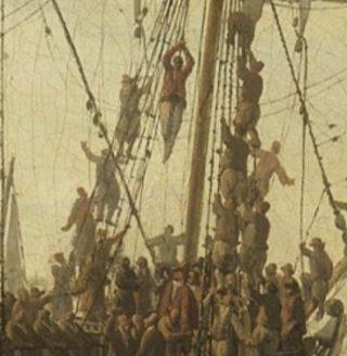 Detail van het schilderij hierboven. De veroordeelde had over belangstelling niet te klagen.