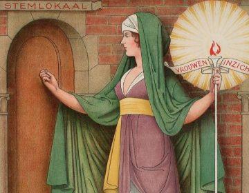 Feminisme - Affiche van de Nederlandse Vereeniging voor Vrouwenkiesrecht die het vrouwenkiesrecht propageert. (Publiek Domein - Theo Molkenboer)