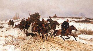 Klopjacht - Op jacht, geschilderd door Jozef Chelmonski, 1882