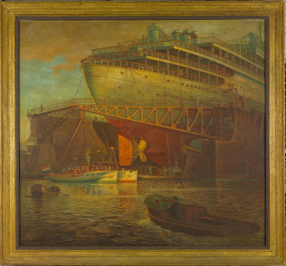 MS Oranje in droogdok (Foto: Scheepvaartmuseum Amsterdam)