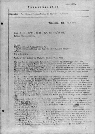 Pagina uit het Strooprapport, over militaire acties op 27 april 1943 (Publiek Domein - wiki)