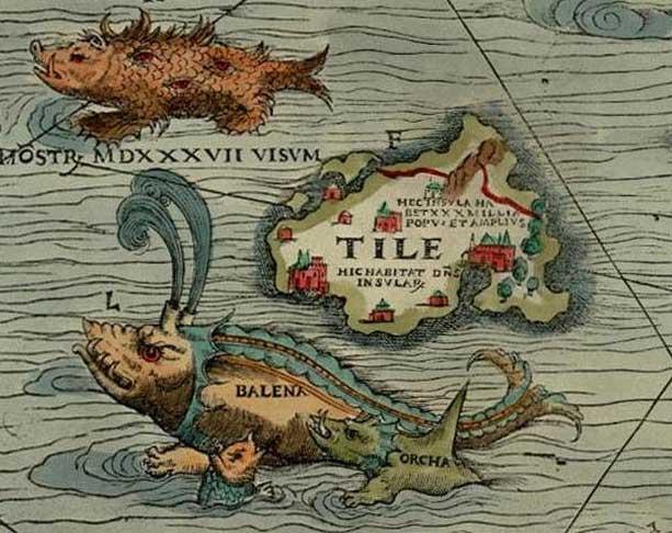 Thule als Tile op de Carta Marina van Olaus Magnus. (Publiek Domein - wiki)