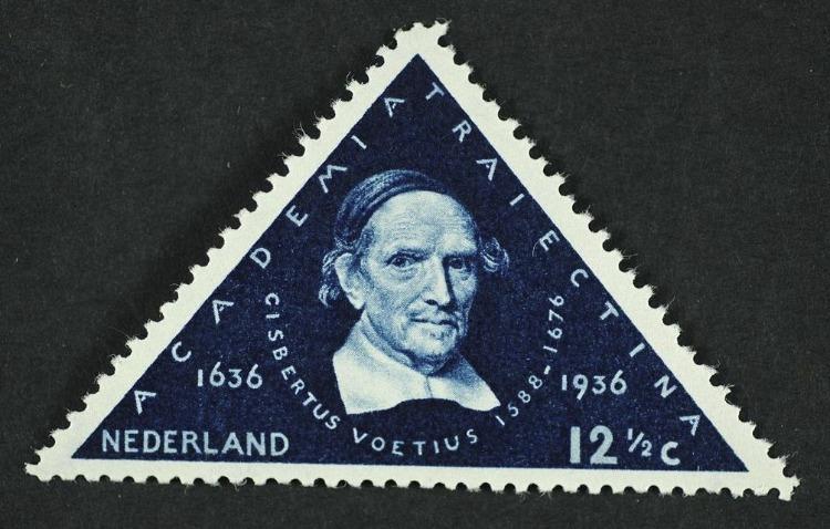 Voetius op een postzegel uit 1936, ontworpen door Pyke Koch (CC BY-SA 4.0 - Geheugen van Nederland - wiki)