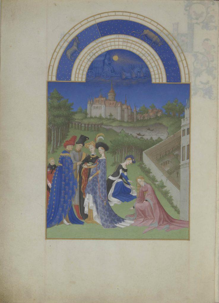Aprilblad uit 'Les Très Riches Heures'