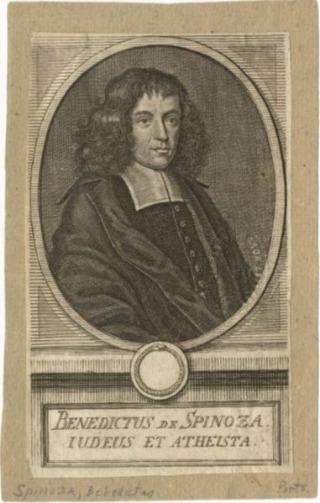 Een vroege gravure van Spinoza. Het onderschrift, in Latijn, zegt:'Jood en Atheïst' (Publiek Domein - New York Public Library Archives)