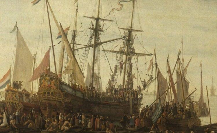 Kielhalen - Op dit schilderij is een man te zien die aan een mast hangt en op het put staat gekielhaald te worden - Schilderij van Lieve Pietersz. Verschuier (Rijksmuseum)