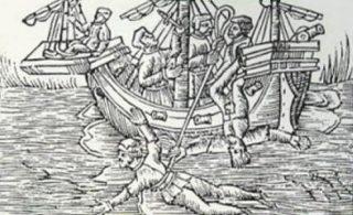 Een houtsnede van een kielhaling uit de Tudor-periode. (Publiek Domein - wiki)