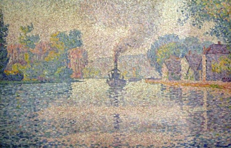 Pointillisme - Paul Signac, 1901, L'Hirondelle Steamer on the Seine