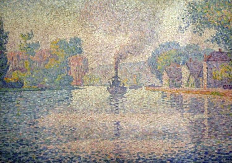Pointillisme - Paul Signac, 1901, L'Hirondelle Steamer on the Seine