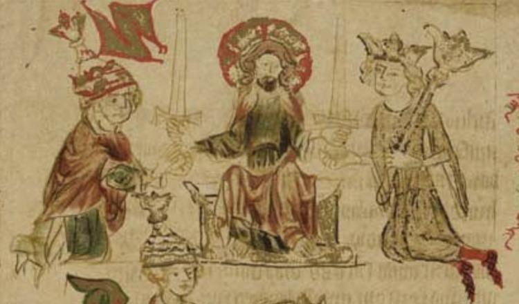 De tweezwaardenleer - Christus geeft twee zwaarden (geestelijke en wereldlijke macht) aan respectievelijke de paus en de keizer (illustratie uit de Dresdense Saksenspiegel, facsimile van Karl von Amira, 1902)