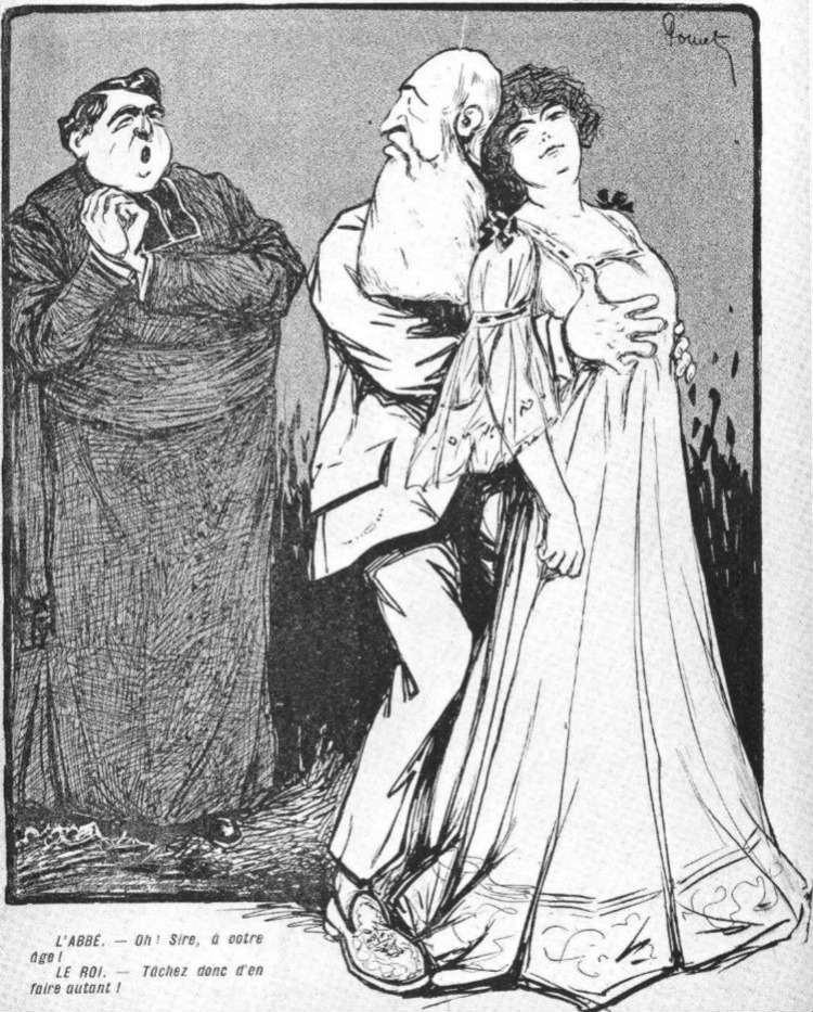 Spotprent over de affaire van de koning met Blanche Delacroix (Pastoor: 'Oh Sire, op uw leeftijd!' - Koning: 'Probeer mij maar eens na te doen!')