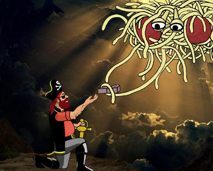Het Vliegende Spaghettimonster geeft de tabletten met de Liever-nieten aan kapitein Mosey (CC BY-SA 4.0 - wiki - Osado)