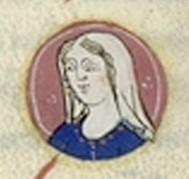 Portret van Plectrudis (14e eeuw, Toulouse, Ms 450 - fol. 186r) - Publiek Domein - wiki