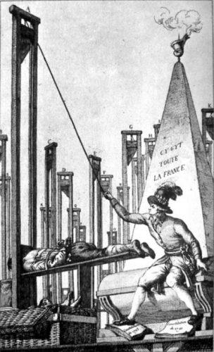 Een Franse spotprent: Robespierre onthoofdt de beul na heel Frankrijk te hebben laten guillotineren (Publiek Domein - wiki)