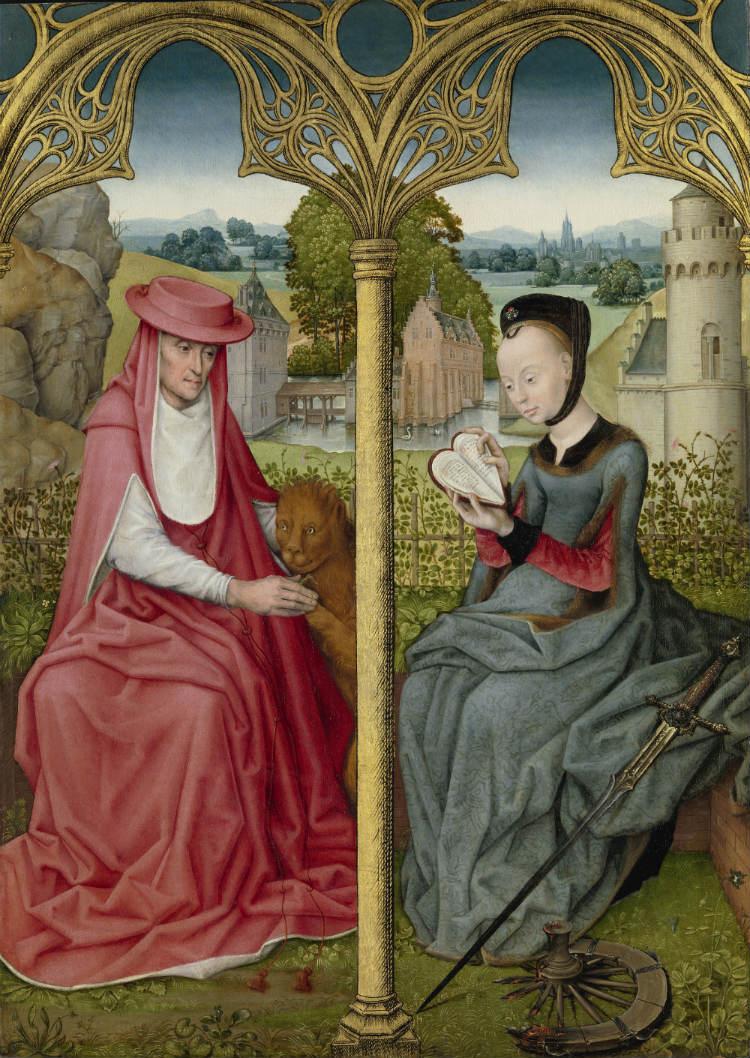 De heilige Hiëronymus en de heilige Catharina van Alexandrië. Brugge of Brussel ca. 1480-1490, olieverf op paneel, 84,5x 61 cm. Bruikleen van de Broere Charitable Foundation (Rijksmuseum Amsterdam)