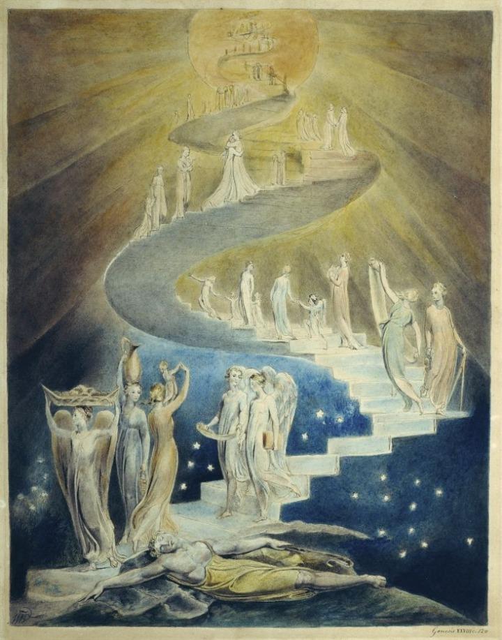 Jakobs droom door William Blake (c. 1805, Brits Museum, Londen)