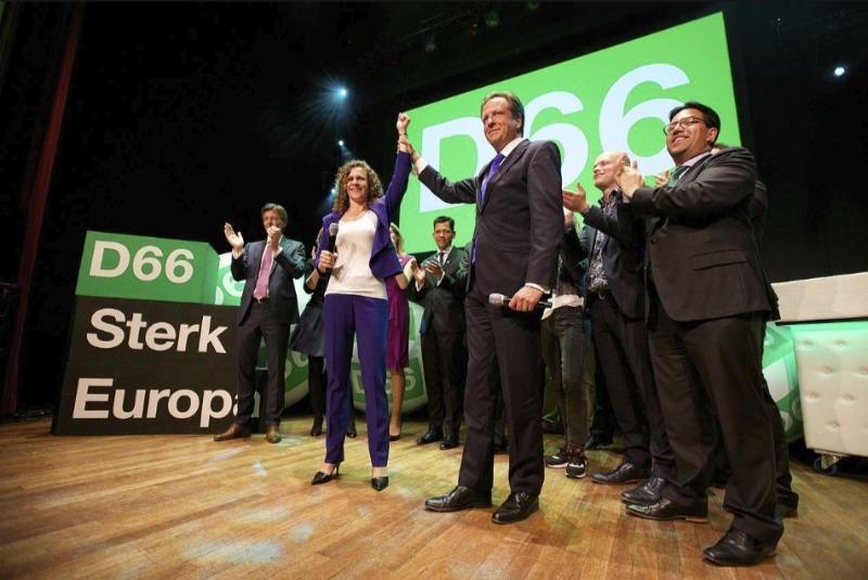 Sophie in 't Veld en Alexander Pechtold bij de D66 uitslagenavond Europese verkiezingen 2014 in Nijmegen (CC BY 2.0 - Sebastiaan ter Burg - wiki)
